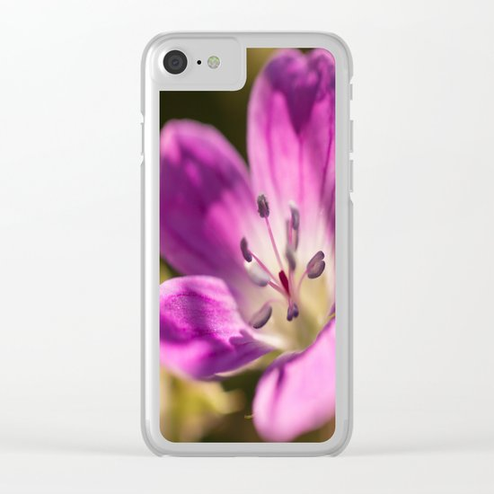 Purple glow in forest Clear iPhone Case
