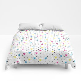 Pin Point Hearts CMYK Comforters