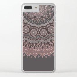 Mandala Spirit, Rose Pink, Gray Clear iPhone Case