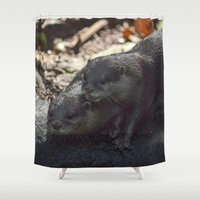 otters Shower Curtains featuring otters in the woods by Claes Touber
