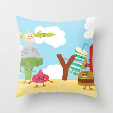 Vegetables vs. Fast food Throw Pillow