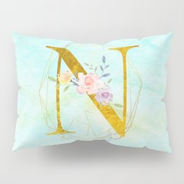 Gold Foil Alphabet Letter N Initials Monogram Frame with a Gold Geometric Wreath Pillow Sham