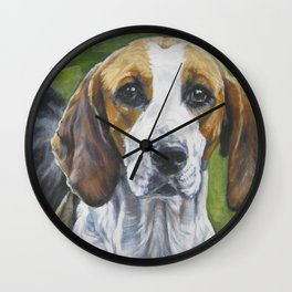 English Foxhound dog art portrait from an original painting by L.A.Shepard Wall Clock