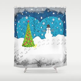 Snowman Heart Shower Curtain