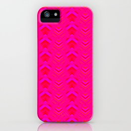 Pattern of intersecting hearts and purple stripes on a pink background. iPhone Case