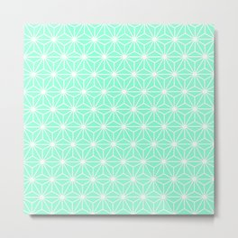 Aqua Geometric Flowers and Florals Isosceles Triangle Metal Print