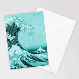 Aqua Blue Japanese Great Wave off Kanagawa by Hokusai Stationery Cards