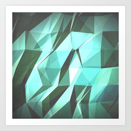 Abstract Green Geometry Art Print