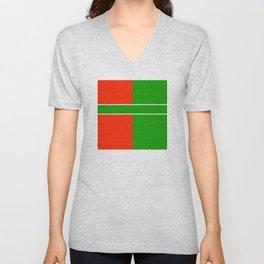 Team Color 6...green,red Unisex V-Neck