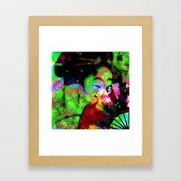 Geisha with a fan Framed Art Print