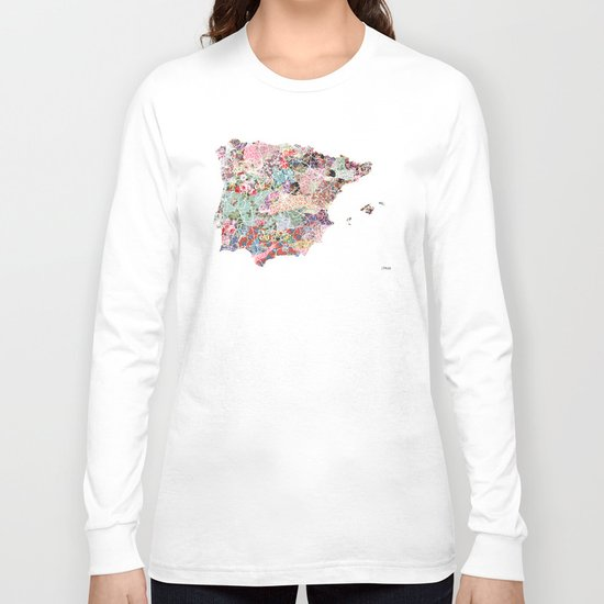 Spain map flowers composition Long Sleeve T-shirt