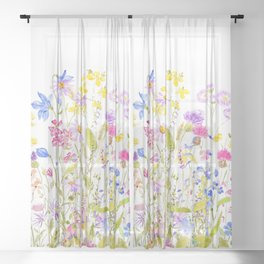 colorful meadow painting Sheer Curtain