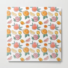 Citrus slices party in my garden_Pink & Teal Green watercolour & ink Metal Print