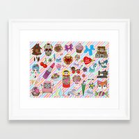 stickers Framed Art Prints featuring I Love Stickers by Jade Boylan