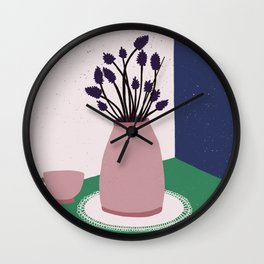 Still Life with Apple, Lavender Flowers and Cup Wall Clock
