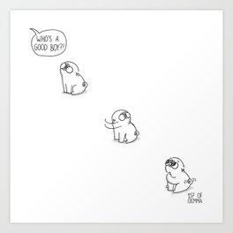 Good boy - Mochi the pug Art Print