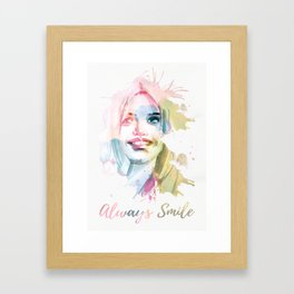 Always smile! Hand-painted portrait of a woman in watercolor. Framed Art Print