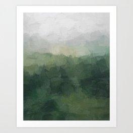 Gray Fog Green Hills Abstract Nature Scenic Painting Art Print Wall Decor  Art Print