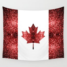 Canada flag red sparkles Wall Tapestry