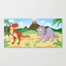 Tyrannosaurus and Triceratops Canvas Print