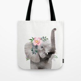 Baby Elephant with Flower Crown Tote Bag