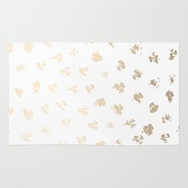 Gold Polka Splotch Dots on White Rug