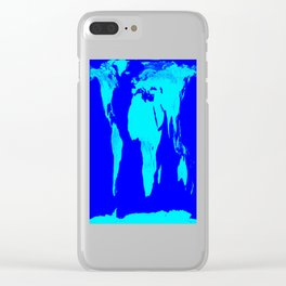 World Map Turquoise Blue Clear iPhone Case