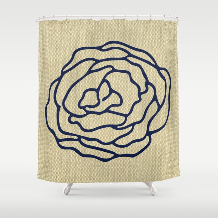 Rose Nautical Navy Blue On Linen Shower Curtain