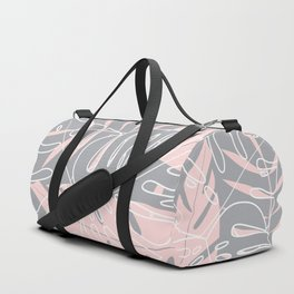 Minimal tropical leaves pink pattern Duffle Bag