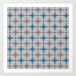 Mid Century Modern Star Pattern Grey and Blue Art Print