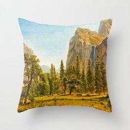 Albert Bierstadt - Bridal Veil Falls, Yosemite Valley, California - Digital Remastered Edition Throw Pillow