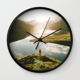 Switzerland Mountain Lake Sunrise - Landscape Photography Wall Clock