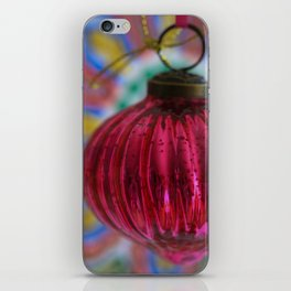 Pink Christmas Ball With Colorful Vintage Embroidery Background iPhone Skin