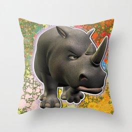 Grumpy Adult Rhino Throw Pillow