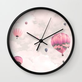 Hot air balloons, violet II Wall Clock