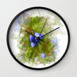 Pretty bluebells on white Wall Clock