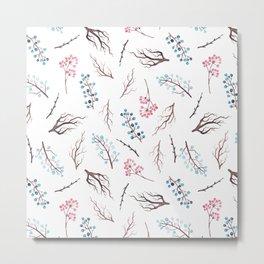 Hand painted winter blue pink watercolor floral Metal Print