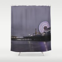 santa monica Shower Curtains featuring Santa Monica Pier by John Sargent
