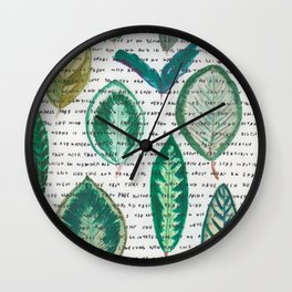 Leaves with words Wall Clock