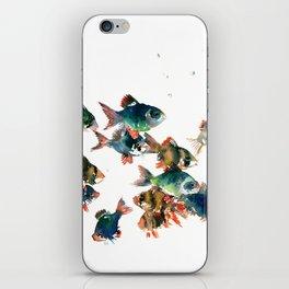 Barb Fish, Aquatic Blue Turquoise Underwater Scene iPhone Skin
