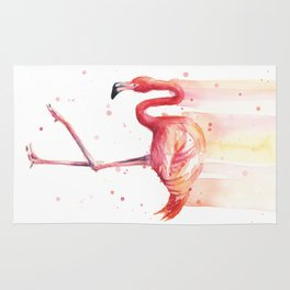 Pink Flamingo Watercolor Tropical Bird Rug
