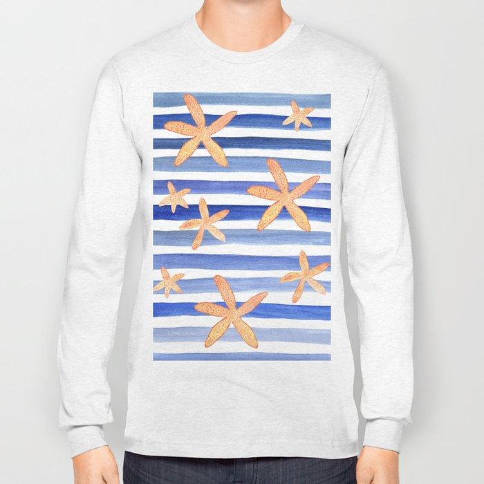 Starfish on blue stripes watercolor design Long Sleeve T-shirt