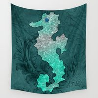 seahorse Wall Tapestries featuring SEAHORSE by Catspaws