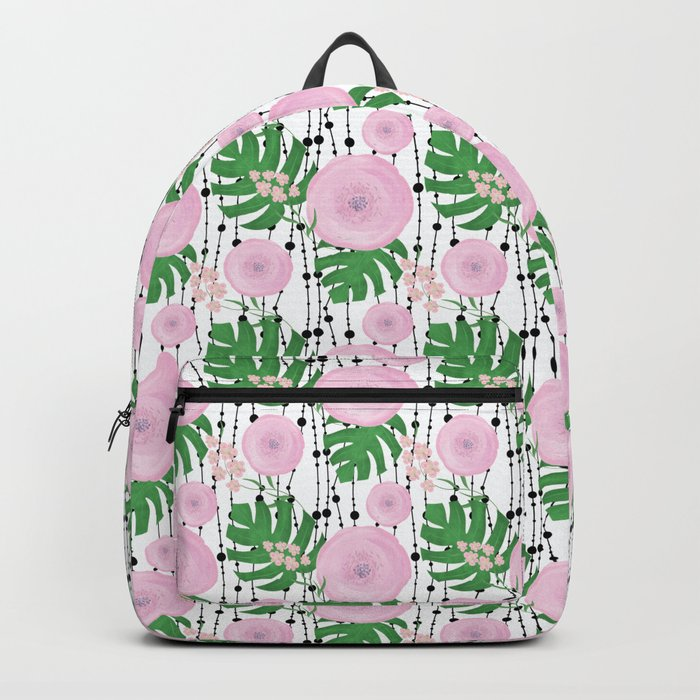 Pink flowers on a white background with black beads. Backpack