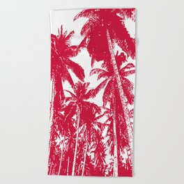 Palm Trees Design in Red and White Beach Towel