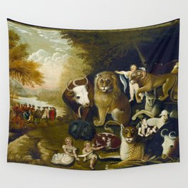 Classical Masterpiece 1833 'A Peaceable Kingdom' by Edward Hicks Wall Tapestry