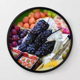 Market Display of Fruit - Kitchen or Cafe Decor Wall Clock