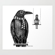 Ronald + Regina -or- The Tiny Poe Aficionados Art Print