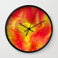 phoenix Wall Clocks featuring Phoenix by Paula Belle Flores