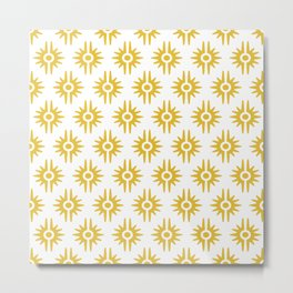Mid Century Modern Bang Pattern 272 Must Yellow Metal Print